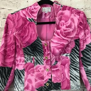 Alberto Makali Jackets & Coats - Alberto Makali 4 Pink Floral Zebra Print Blazer